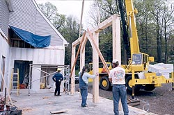 Timber frame - thefirst of this new frame goes up