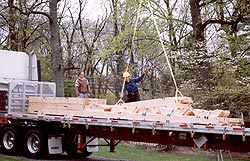 Timber frame - constructed off site, disassembled, and shipped