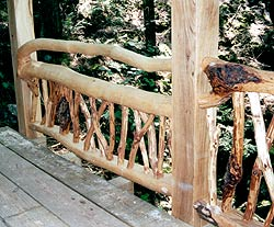 Timber frame bridge in the Adirondack style of construction.